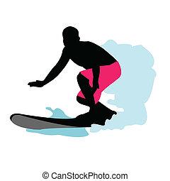 surfeur, silhouette