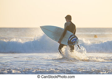 surfeur, silhouette, plage, surfboard.