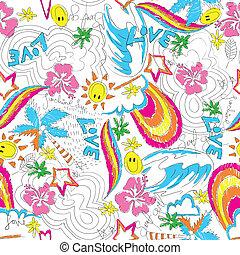 Surfgirl beach seamless pattern