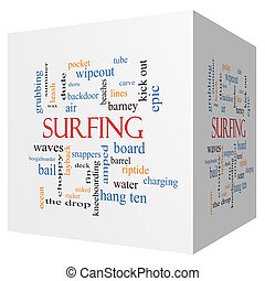 Surfing 3D cube Word Cloud Concept