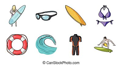 Surfing and extreme icons in set collection for design. Surfer and accessories vector symbol stock web illustration.