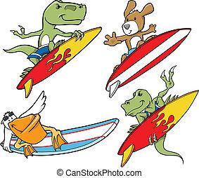 Surfing Animal Vector Set