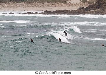 Surfing at Sennen Cove Cornwall - SENNEN COVE, CORNWALL,...