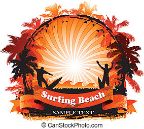 Surfing background with surfer beach and sunset