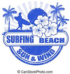 Surfing beach stamp - Surfing beach grunge rubber stamp with...