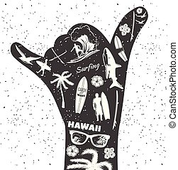 Surfing Black Hand - Surfing black hand as a gesture Shaka...