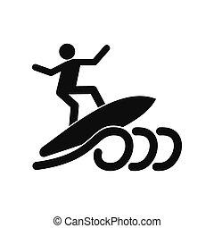 Surfing black simple icon