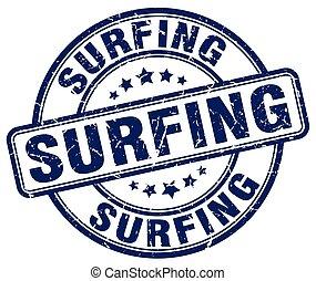 surfing blue grunge round vintage rubber stamp