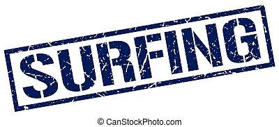 surfing blue grunge square vintage rubber stamp