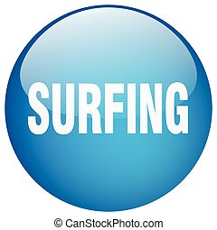 surfing blue round gel isolated push button