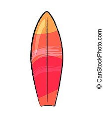 Surfing Board Isolated on White Vector Poster