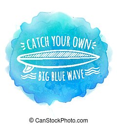 Surfing board white logo on blue watercolor background