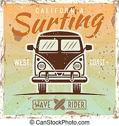 Surfing bus colored vintage poster