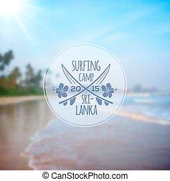 Surfing camp logo on blurred beach photo background