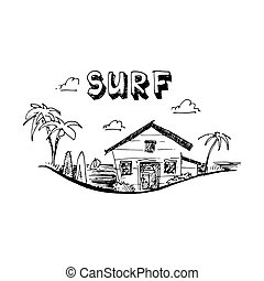 Surfing camp. Surfing school. Summer time. Vector illustration isolated on white