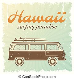 Surfing Car Poster - Surfing car retro poster with bus on...