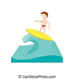 Surfing cartoon icon