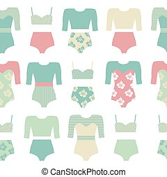Surfing clothing. - Vector set of vintage surfing swimsuits....