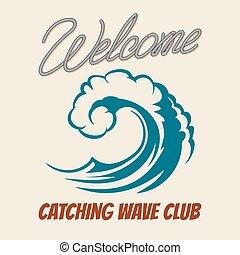Surfing club emblem with killer wave. Vector vintage surf poster sea waves splash