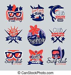 Surfing club logo templates set, surf club emblem, windsurfing badge collection