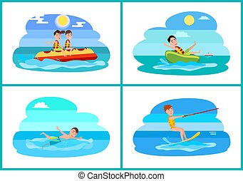 Surfing Collection of Sport Vector Illustration