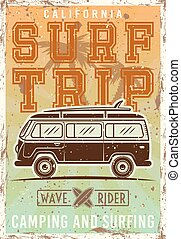 Surfing colored vintage poster with bus