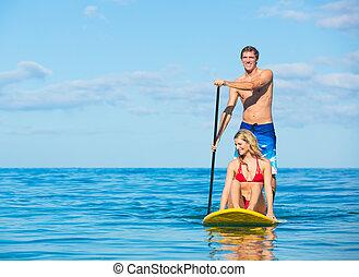 surfing, coppia, su, pagaia, hawai, stare in piedi
