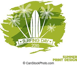 Surfing day label graphic elements. Vector Vacation typography emblem on watercolor ink splash. Surfer party badge with surf symbols - surfboard. Best for web design or tee design print, t-shirt