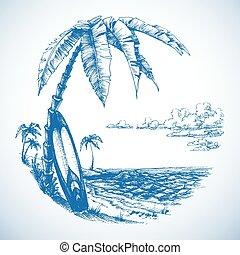 surfing, drzewa, tło, dłoń, prospekt morza