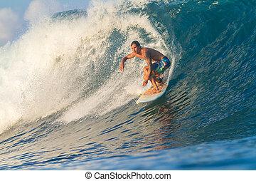 surfing, een, wave.