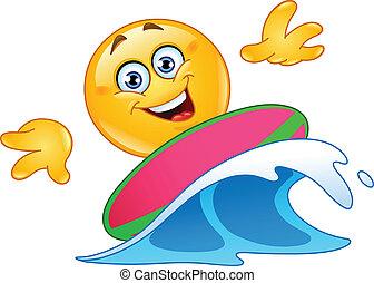 Surfing emoticon on blue ocean wave