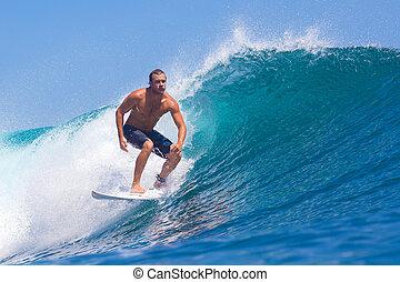 surfing, fale przybrzeżne, gruczoł, indonesia., wave., area.