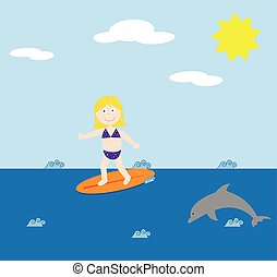 Surfing Girl and Dolphin