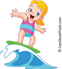 Surfing girl - Young girl surfing