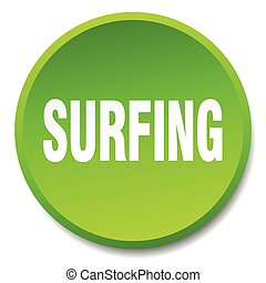 surfing green round flat isolated push button