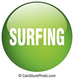 surfing green round gel isolated push button