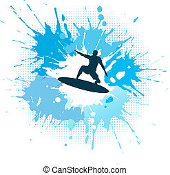 Surfing grunge - Silhouette of a surfer on a grunge splash...