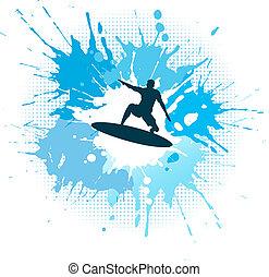 Surfing grunge - Silhouette of a surfer on a grunge splash ...
