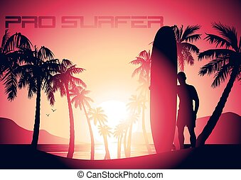 Surfing guy and sunrise at a tropical beach