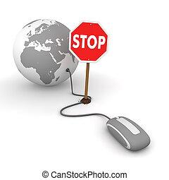 surfing het web, in, grijze , -, belemmerde, door, een, stopteken