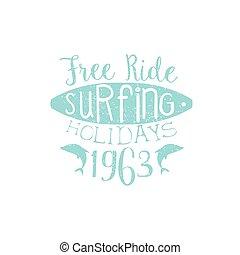 Surfing Holidays Vintage Emblem