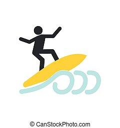 Surfing icon flat