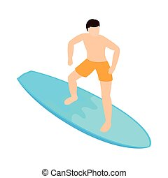 Surfing icon, isometric 3d style