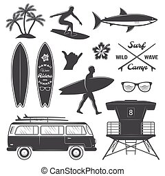 Surfing Icon Set - Black surfing isolated icon set with...