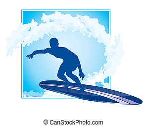 surfing icon - surfer silhouette with abstract wave...