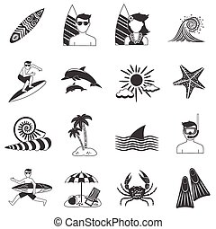 Surfing Icons Black