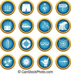 Surfing icons blue circle set