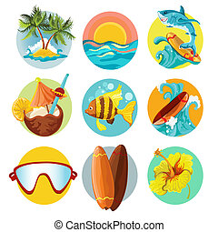 Surfing icons set