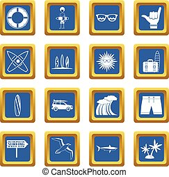 Surfing icons set blue