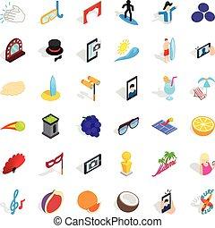 Surfing icons set, isometric style